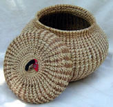 Dorothy Etzel, Red Arrow Lidded Basket, 6 inches x 4 1/2 inches